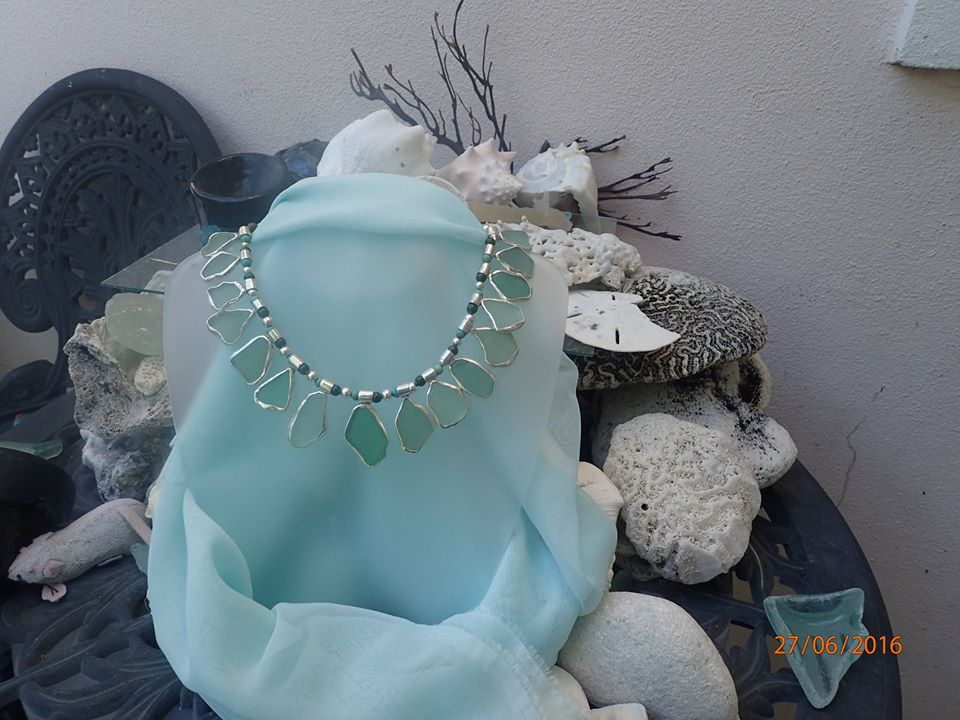 A stunning one of a kind seaglass collar with beautiful Abaco waters colours separated with pearls now instead of jade and turquoise.